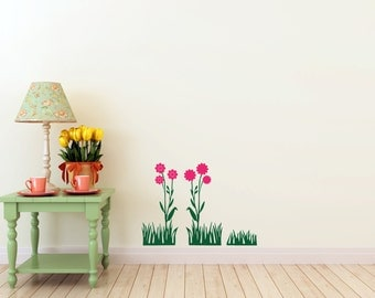 Grass and Flowers Decal-  interior design, kids rooms, sticker art, room, home and nursery decor