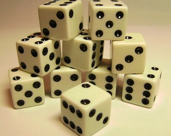 """12 Vintage White Dice Standard 6-Sided Dice 5/8"""""""