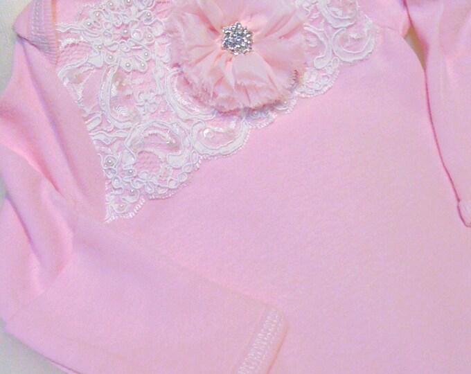 Newborn Girls Pink Lace Take me home Layette gown Newborn thru 3 months
