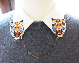Circus Tiger Double Brooch Gift Pin Wild Animal