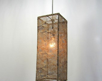 Lamp Shade Pendant Light Beige Embroidery Leaves on Black Mesh Custom Made Design NYC
