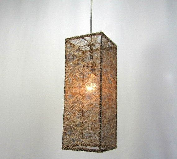 Lamp Shade Pendant Light Beige Embroidery Leaves On Black Mesh