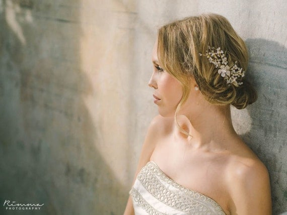 Rhinestone Flower with Tiny Crystal Flower Blossoms headpiece