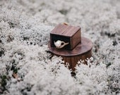Round wooden ring box with black pillow for ring - Made to order