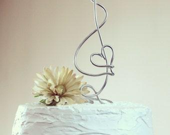 Musical Treble Clef Heart Wire Cake Topper
