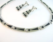 Taxco Silver Necklace Earring Sterling Vintage Mexico Set Black Enamel Modern Abstract Victor Jaimez Mid Century 1950s