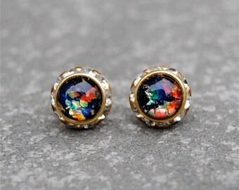 Black Rainbow Opal Diamond Rhinestone Stud Earrings RARE Vintage German Glass Swarovski Crystal Stud Earrings Mashugana
