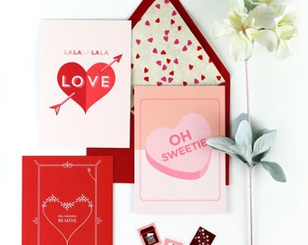Valentine Card Series - Pick One: Be Mine Heart, Oh Sweetie, Lalalalala Love