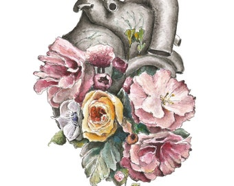 Floral Anatomy: Heart Print of Watercolor - Anatomical Art Print - Human Body - Medical Art