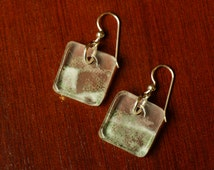 Eco Earrings Made from a Grey Goose Vodka Bottle, Recycled Glass Jewelry, Upcycled Earrings, For Her, Dessin Creations