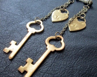 Key lock earrings, romantic vintage style brass heart lock and key shoulder dusters