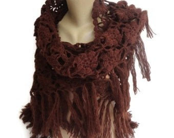 brown Crochet Shawl / Bridal Shawl / Wedding Shawl / Bridal Shrug / Winter Wedding / Bridal Bolero / Bridal Cover Up / Winter Accessories