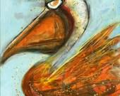 Bogie  Pelican - Beach Bum Series - Coastal art- by Erika Johnson 11 x 14  inches art print on archival paper by Erika Johnson - pelican art
