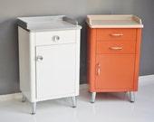 1940s Steel Medical Cabinet - Peach Industrial Storage