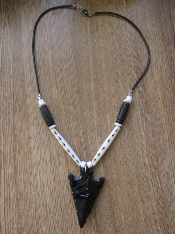 Obsidian Arrowhead Necklace with Bone Beads by SmithNJewels
