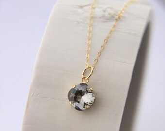 Black Diamond, Smoky Gray Swarovski Pendant with Gold Filled Chain - Gifts for Her