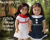 """Eden Ava Couture 1930s Vintage Inspired Dress Sewing Pattern for 18"""" American Girl Doll"""