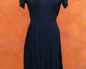 Vintage 1940s WWII Women's Black Rayon Dress. Accordion Pleated Skirt.
