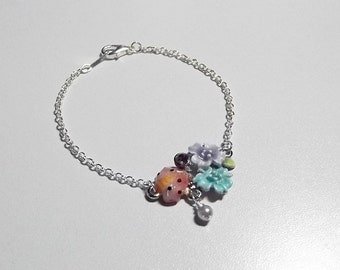 Spring Flower Charm Bracelet, Christmas Gift, Mom Sister Jewelry Gift, Lilac Purple, Pastels, Pearls