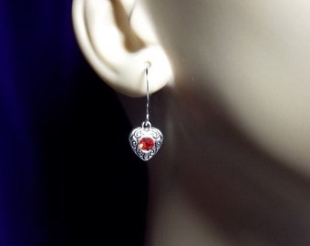 Red Rhinestone Heart Drop Earrings, Christmas Gift, Mom Sister Grandmother Gifts, Simple and Pretty