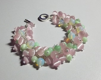 Catseye and Sea Glass Bracelet,  Mom Sister Jewelry Gift, Spring, OOAK, Chunky, Pretty, Christmas Gift