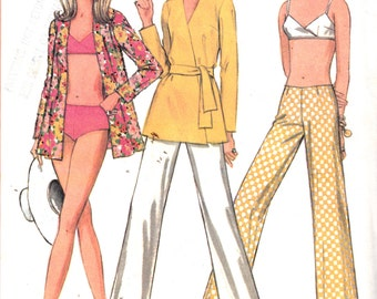 1960's Misses Bikini Bathing Suit Pants and Top McCall's 9766 Vintage Sewing Pattern Bust 32.5""