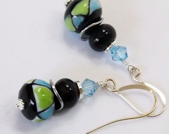 Handmade Green, Blue, and Black earrings - Lamppwork beads, sterling silver ear wires, silver and components