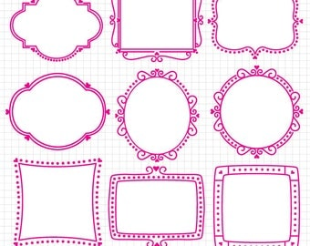 Digital Frames Clipart Digital Download Images Valentine's Day Heart Frames Vectors