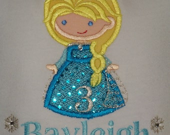Frozen Elsa Birthday Shirt / Personalized / Rhinestone / Bling / Disney Inspired / Aqua  / Baby / Girl / Toddler / Custom Boutique Clothing