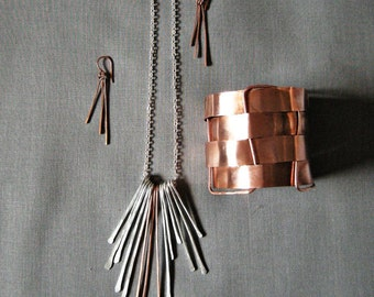 Copper Jewelry Set /copper bracelet / copper necklace silver fringe necklace / dangle earring // hammered jewelry / raw copper cuff bracelet