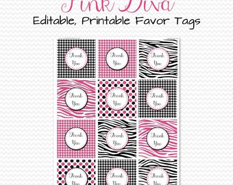 Pink Diva Party Favor Tags, Treat Bag Labels, Zebra Print Party Supplies, Bridal Shower -- Editable, Printable, Instant Download