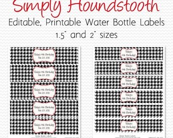 Water Bottle Labels, Black and White, Red, Houndstooth Birthday Decor or Shower Decoration, Party Favor -- Printable, Editable, Instant