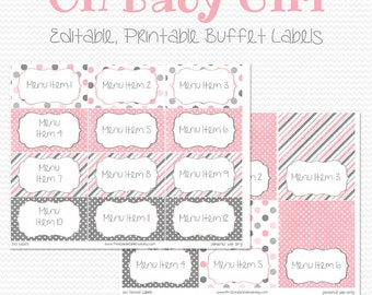 Buffet Labels and Place Cards, Gray and Pink Party Decoration, Baby Shower, Candy Buffet, Food Tent -- Editable, Printable, Instant Download