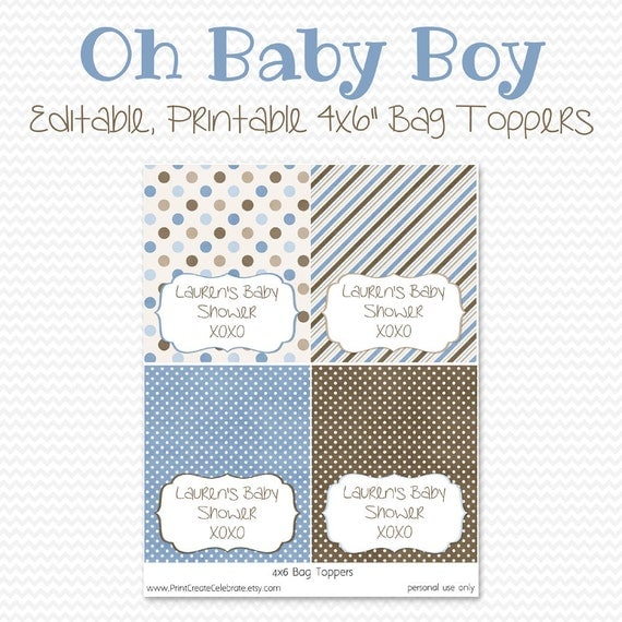 baby shower favors treat bag toppers blue and brown baby boy shower