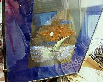 Painting on Leaf  Vein - Framed Original Hand-Painting / Pure Handmade Artwork / Watercolor Masterpiece Art - Hand Painted Leaf Art