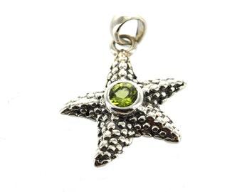 Luxury Sterling Silver Gemstone Pendant, PERIDOT STARFISH, custom bezel set pms0365