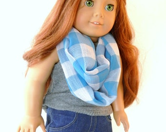 Infinity Doll Scarf Turquoise and White Big Gingham Check Chiffon Scarf Fits 18 inch Fashion Dolls