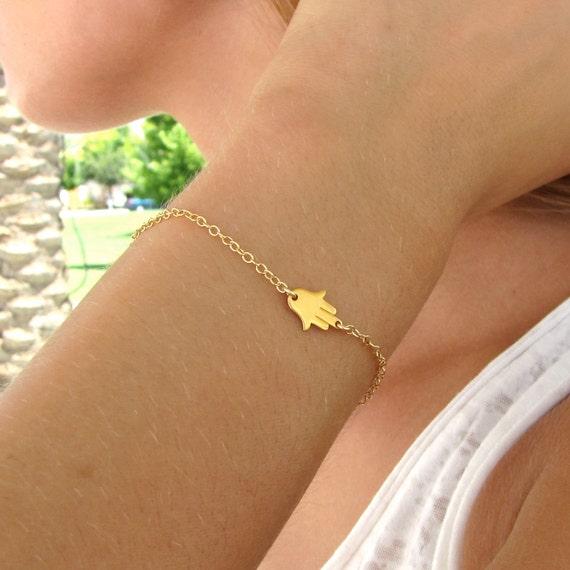 Hamsa Hand Bracelet - Good Luck Hand Bracelet - Hamsa Charm Bracelet