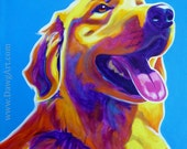 Golden Retriever, Pet Portrait, DawgArt, Dog Art, Colorful Pet Portrait, Golden Retriever Art, Pet Portrait Painting, Art Prints