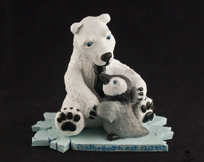 Polar Bear and Penguin Wedding Cake Topper