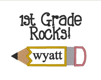 Instant Download . Kindergarten Through Fifth Grade School Rocks Applique Embroidery Designs - 2 Sizes