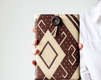 iPad mini case - iPad mini sleeve - Tribal - Beige and brown - OOAK