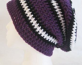 long slouch beanie purple, black, white hand crochet unisex fits teens and adults