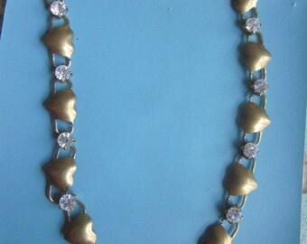 Fancy Vintage Heart And Rhinestone  Chain