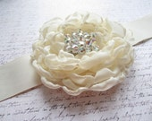 Bridal Sash, Ivory Bridal Sash, Wedding Belt, Bridal Belt, OOAK, One of a Kind, Made in Sweden, Swedish Design