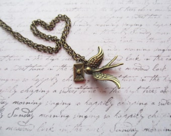 Vintage Bronze Love Necklace, Bird Necklace, Made in Sweden, Swedish Jewelry Design, Scandinavian Jewelry