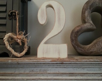 Decorative Standing Wedding Table Numbers - Georgian Font - 20cm high - Number 2 - Baby Photo Shoot, Photo Prop
