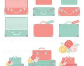 Clip Art Set - Suitcases and Flowers - Bon Voyage - Travel Series - Pastel Colors - 12 Printable Digital Files - JPG and PNG Format - ID 235