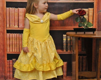 Belle's Golden Ballgown - Sizes 2T, 3T, 4T, 5, 6, 7, 8 and 10