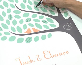 Wedding Tree Guest Book / Personalized Signature Tree Guestbook Art Print / Choose your Colors
